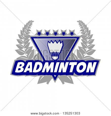 Badminton Tournament logo with flounce and laurel wreath. Vector Illustration. Isolated on White.