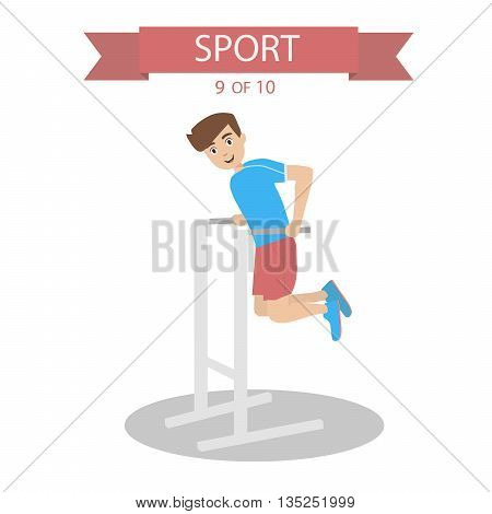 Athlete pushes on the bars flat graphics