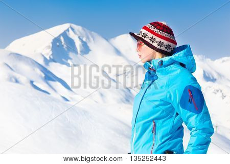 Woman skier in the Alps Mountains, Triglav natural park, Vogel, Slovenia.