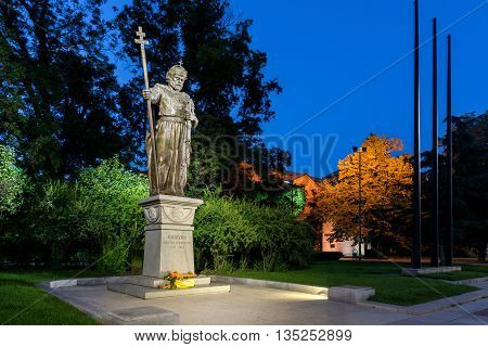 Night photo of Monument of bulgarian Tsar Samuel and St. Sofia church, Sofia, Bulgaria
