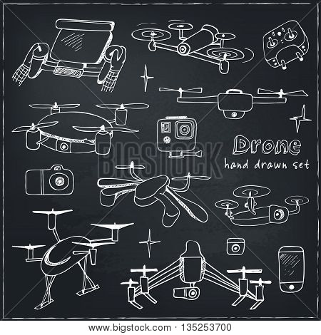 Drones vector set Hand drawn element drone and controller connecting. Isolated vector illustration