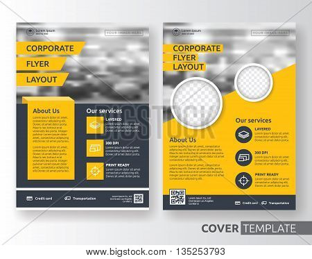 Multipurpose business corporate flyer layout design. Suitable for flyer brochure book cover and annual report. Yellow and black color in A4 size template background with bleeds. Vector illustration
