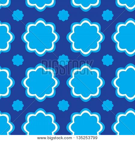 Seamless texture with blue flower forms against a dark background
