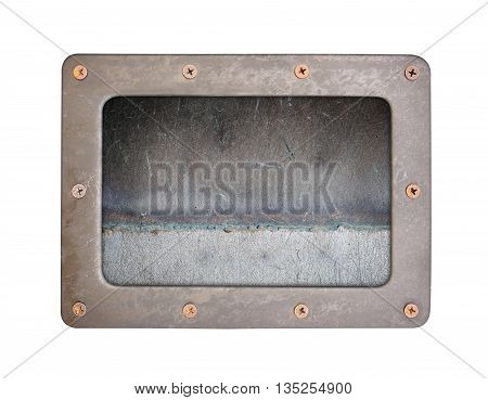 steel rust textures background plate with frame and screws