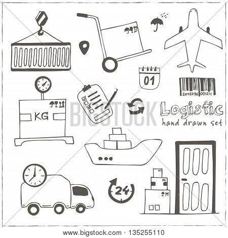 Hand drawn logistics and delivery sketch icons set isolated vector illustration