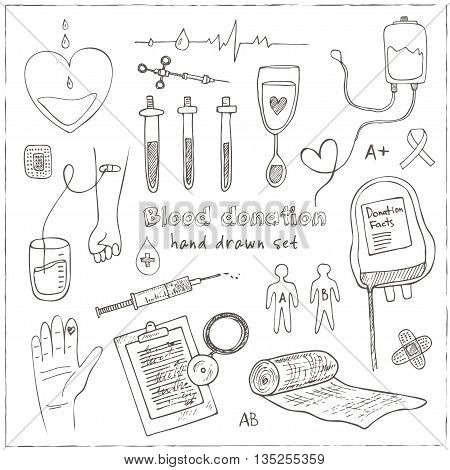 Donor blood donation sketch decorative icons set isolated vector illustration