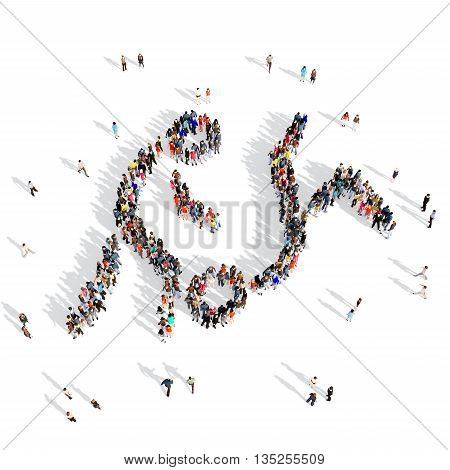 Large and creative group of people gathered together in human shape , fighting, competition, sport. 3D illustration, isolated against a white background.