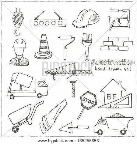 Set of doodle sketch Architecture Construction Building icons isolated vector illustration
