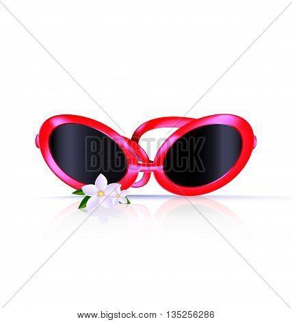 white background and red eyeglasses with flower