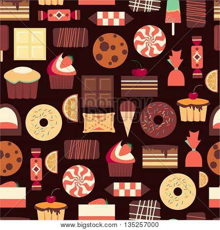 Seamless pattern with sweet dessert objects. Abstract background with tasty gourmet items. For wallpaper and wrapping paper. Food vector design illustration. Retro confectionery. Pastry.