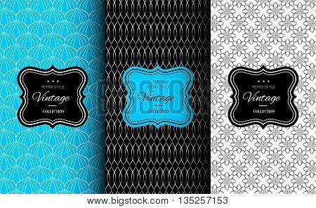 Elegant seamless pattern set. Vector illustration for fashion design. Packing element for label, background, wallpaper in trendy linear style. Cafe, pastry shop, sweet-shop menu template. Bright blue.
