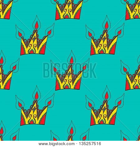 Hand drawn pattern with crowns.  Colored vector illustration