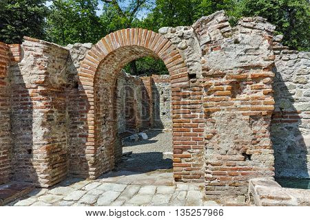 Ruins with red bricks in The ancient Thermal Baths of Diocletianopolis, town of Hisarya, Plovdiv Region, Bulgaria