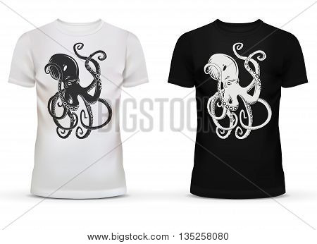 Print of cartoon octopus with tentacles on sportswear or casualwear unisex or men black and white cotton t-shirt with short sleeve and u-neck collar for adult or teenager usage