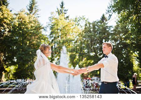 Wedding Couple Near Fountain At Sunny Day