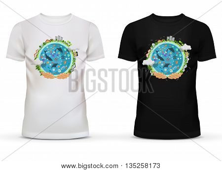 White and black sportswear t-shirt with u-neck collar and short sleeve for teenager and adult with print or advertisement of hands holding earth with houses or buildings on circumference and ocean