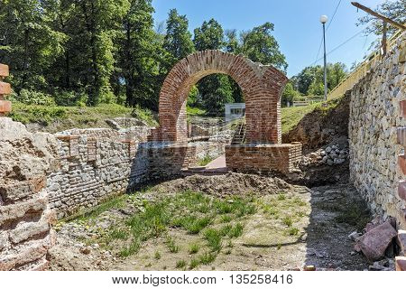 Entrance and inside view of The ancient Thermal Baths of Diocletianopolis, town of Hisarya, Plovdiv Region, Bulgaria
