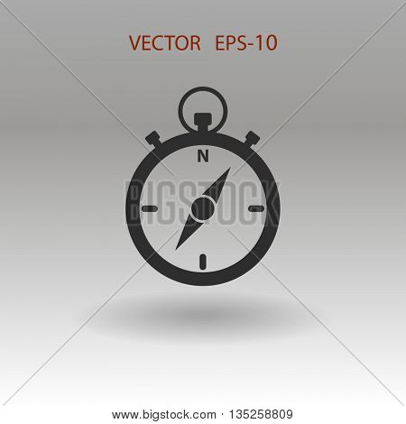 Flat shadow Stopwatch icon, vector illustration