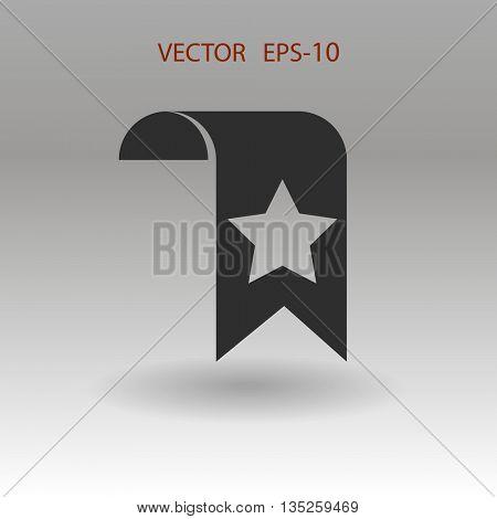 Flat shadow Favorite bookmark icon, vector illustration
