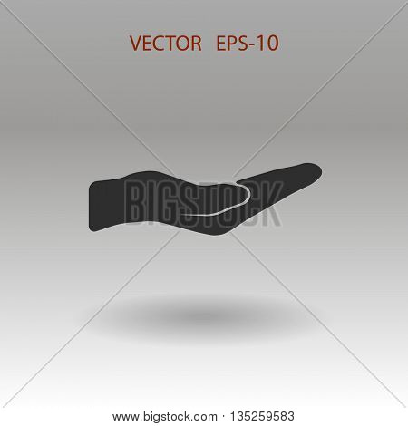 Flat long shadow Holding palm icon, vector illustration