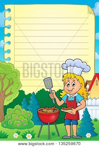 Lined paper with barbeque theme 2 - eps10 vector illustration.