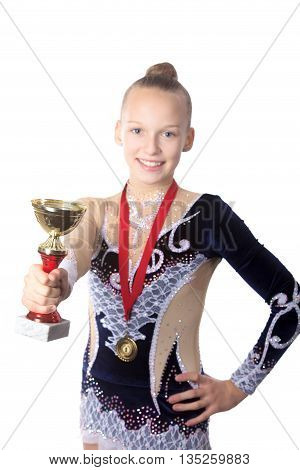 Winner Gymnast Girl Holding Award