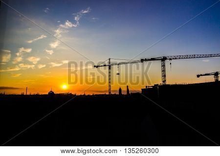 cranes on the construction site of the City Palace in Berlin