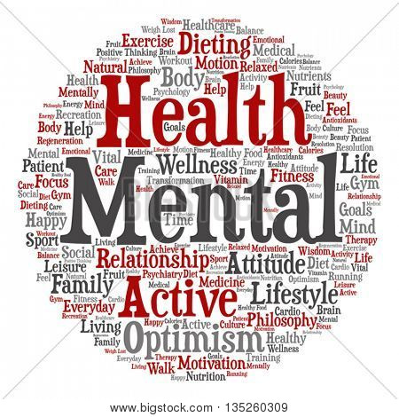 Concept or conceptual mental health or positive thinking square word cloud isolated on background, metaphor to optimism, psychology, mind, healthcare, thinking, attitude, balance or motivation