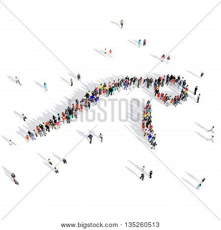 Large and creative group of people gathered together in human shape , push-ups, competition, sport. 3D illustration, isolated against a white background.