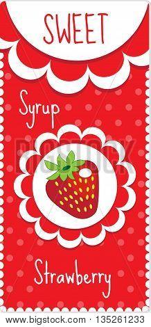 Sweet fruit labels for drinks syrup jam. Strawberry label. Vector illustration