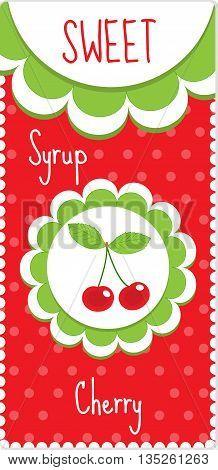 Sweet fruit labels for drinks syrup jam. Cherry label. Vector illustration