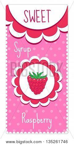 Sweet fruit labels for drinks syrup jam. Raspberry label. Vector illustration