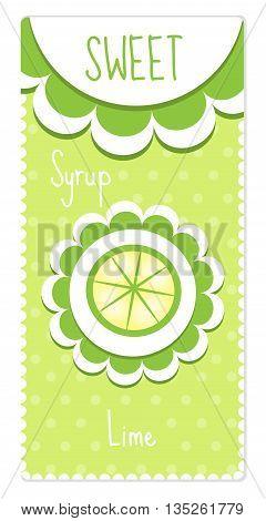 Sweet fruit labels for drinks syrup jam. Lime label. Vector illustration