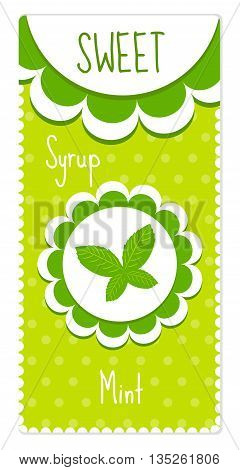 Cute labels for drinks syrup. Mint label. Vector illustration