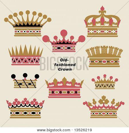 Vector antigua Corona conjuntos