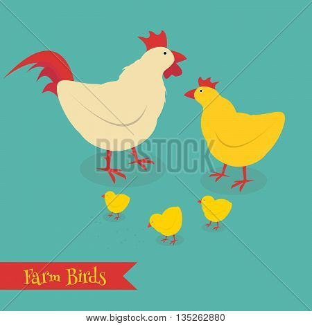 Chicken mother and chuk kid vector illustration. Cartoon chicken bird isolated on background. Cute chicken vector illustration.