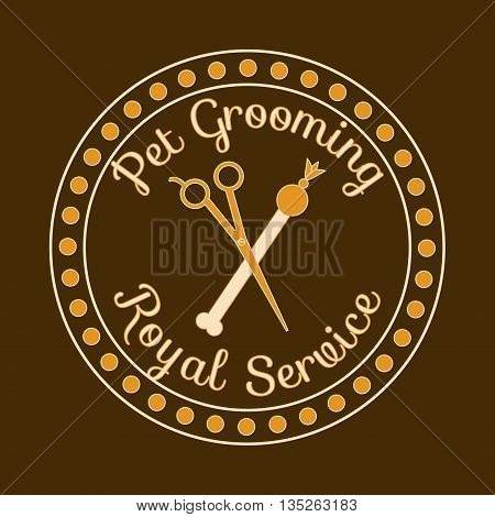 Dog grooming royal service. Vector logo label for pet grooming shopvet hairdresser