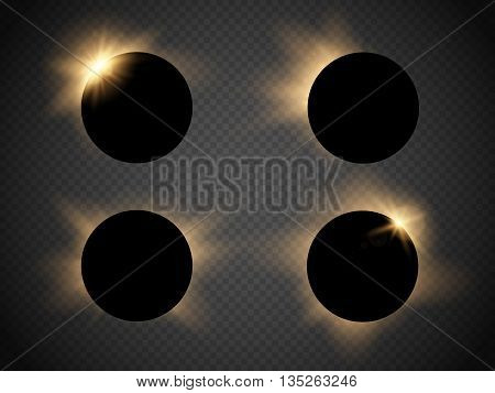 Sun eclipse isolated on transparent background. Vector illustration
