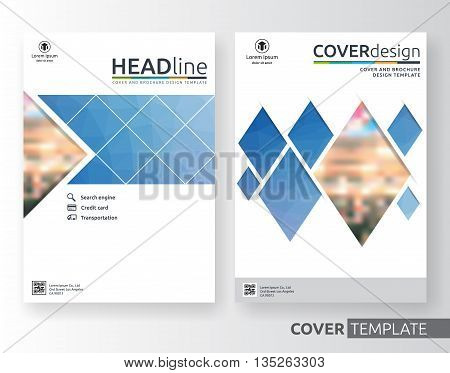 Abstract business and corporate cover design layout. Suitable for flyer brochure book cover and annual report. Blue and white color A4 size template background with bleed. Vector illustration