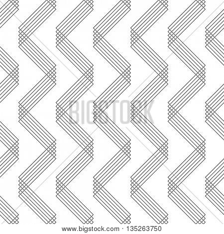 Seamless Zig Zag Pattern. Abstract  Black and White Background. Vector Regular Thin Line Texture