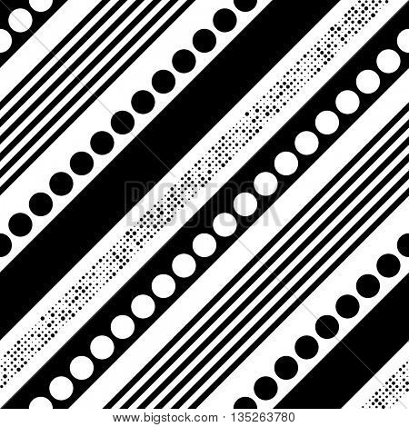 Seamless Diagonal Stripe, Line, Circle and Dots Pattern. Vector Black and White Patchwork Background. Minimal Geometric Wallpaper