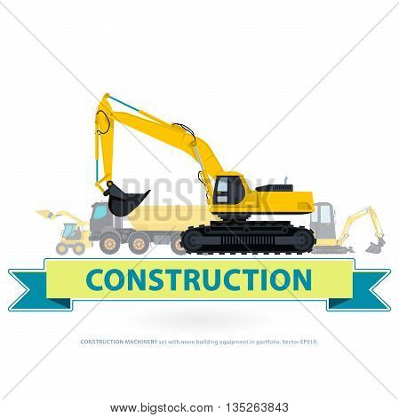 Construction machinery set. Yellow and blue sign ground works. Machine vehicle like truck. Building equipment mix and lorry. Heavy pavement foundation. Master vector illustration.