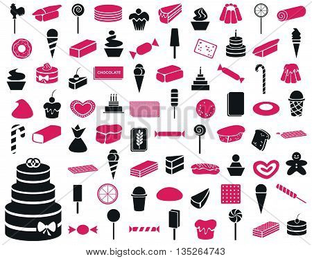 icons on a white background on the subject of sweets cakes confectionery
