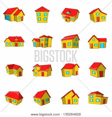 Town house cottage and assorted real estate building icons set in cartoon style