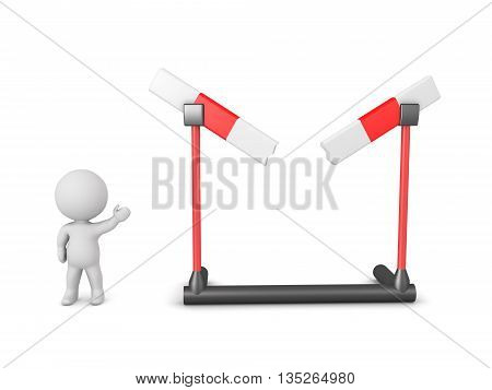 Small 3D character showing a large broken hurdle. Isolated on white background.