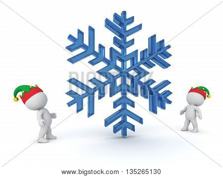 3D characters with elf hats looking up at a large snowflake. Isolated on white background.