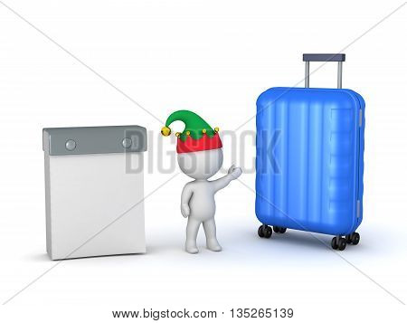 3D character wearing elf hat with a calendar and a large travel trolley. Holiday traveling concept. Isolated on white background.