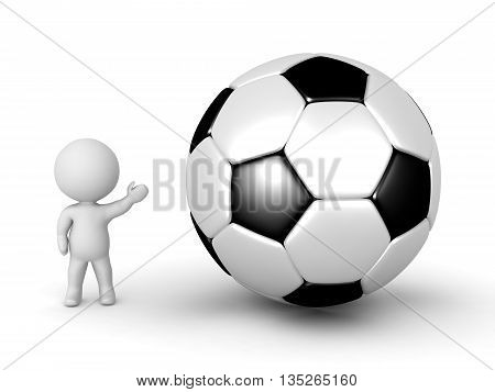 3D Character Showing Large Football