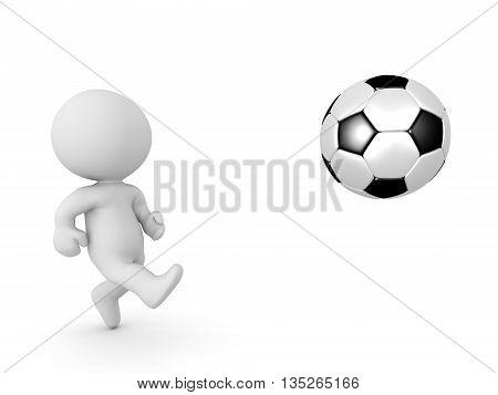 3D Character Kicking Football