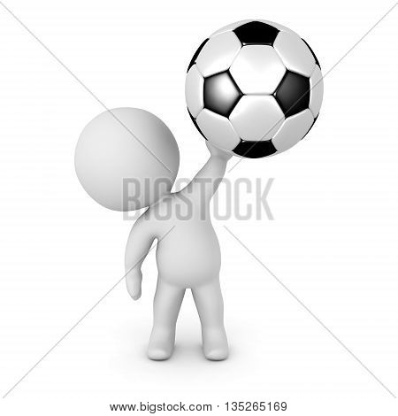 3D Character Holding Up Football